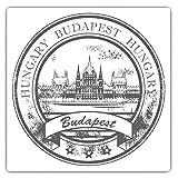 Impresionantes pegatinas cuadradas (juego de 2) 7,5 cm BW – Sello de viaje Budapest Hungría Divertidas calcomanías para portátiles, tabletas, equipaje, reserva de chatarras, neveras, regalo genial #40623