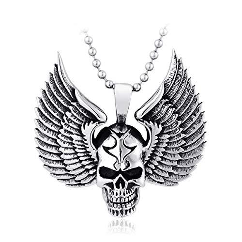 TAOYATAO Colgante de acero de titanio con diseño de calavera de ala colgante de collar de acero inoxidable personalizado,Collar colgante cuenta,Cordón de cordón