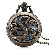 FEELHH Orologio da Tasca A Catena Vintage,Stile Artigianale Snake Cava di Quarzo Rotondo Numeri Romani Orologio da Tasca Uomini Donne Pendente con Catena Collana Dono