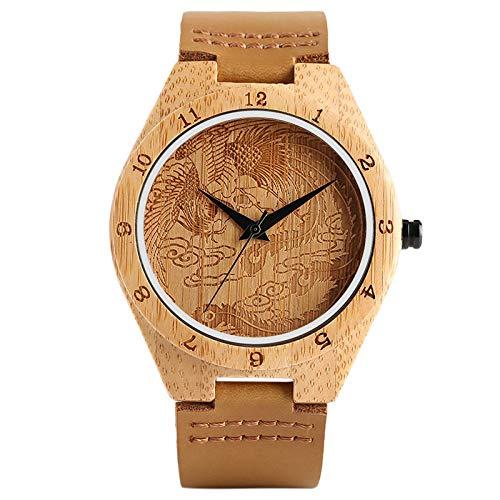 UIOXAIE Reloj de Madera Moda Grabado Phoenix Dial Top 100% Reloj de Madera de Cuarzo Correa de Cuero analógica Regalo Creativo Hecho a Mano de bambú, marrón