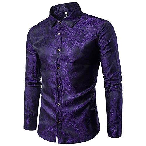 Allthemen Herren Paisley Hemd Langarm Jacquard Hemd für Männer Regular Fit Stickerei Freizeithemd Violett M