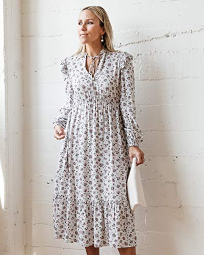 The Drop Women's Dawn Blue Floral Print Neck-Tie Lined Midi Dress by @jaceyduprie