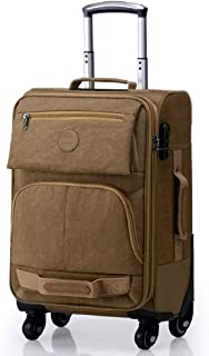 "Check In Hold Luggage with 4 Wheel Spinner Case,Trolley Bag,Suitcase 20""24""28"" (Color : Khaki, Size : 24inches)"