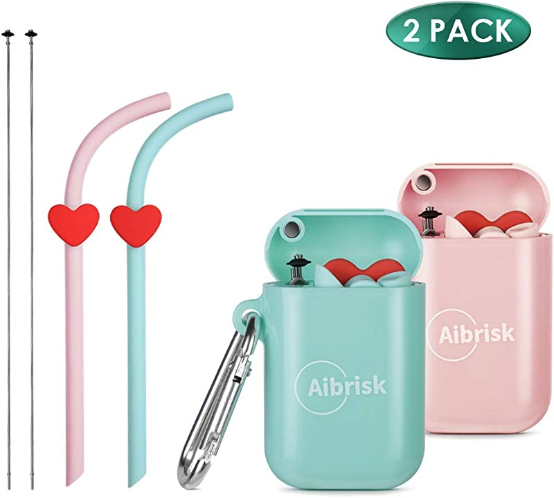 Aibrisk Reusable Silicone Straws 2 Pack Portable Collapsible Silicone Drinking Straws With Portable Case And Cleaning Brush BPA Free Flexible Foldable Straws For Beverage Coffee Green Pink