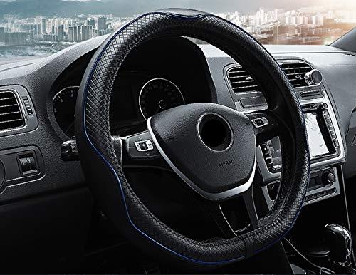 """HONCENMAX D Typ Fahrzeug Lenkradabdeckung Auto Lenkradschutz D-Form [Flacher Boden] Durchmesser 38cm (15\"""") - Echtleder"""