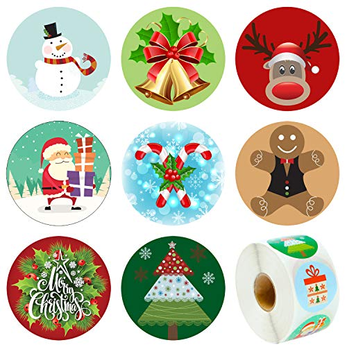 Elcoho 600 Pieces Happy Snowman Face Stickers Assortment Snowman Face Roll Sticker Christmas Stickers for Party Favors Supplies