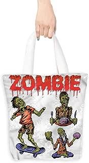 Handbag or crossbody messenger bag,Zombie Man Eating Brain,Canvas Shopping Beach Cloth Tote,16.5