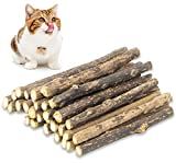 QUTOP 24 Pcs Cat Chew Toy Stick, Natural Catnip Sticks Matatabi Kitten Teething Toys Silvervine for Cats