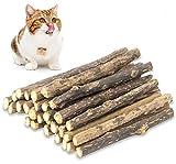 QUTOP 24 Pcs Cat Chew Toy Stick, Natural Catnip Sticks Matatabi Kitten Teething Toys Silvervine for Cats