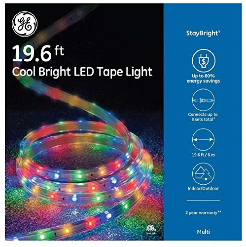 GE StayBright 240-Count 19.6-ft Constant Multicolor Integrated Led Plug-in Christmas Rope Lights Clear Tubing 82155LO