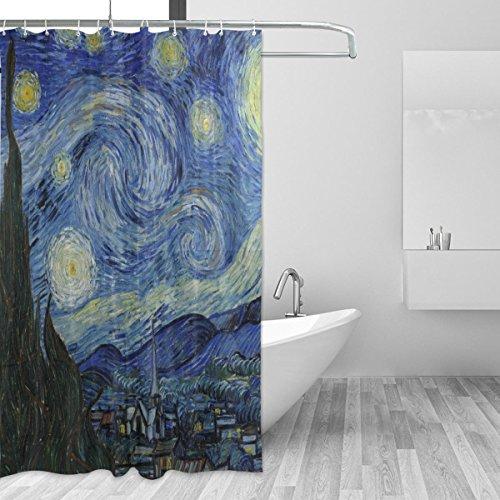 Ahomy Duschvorhang Van Gogh Starry Night Moon Bad Vorhang Wasserdicht Polyester-Mildewproof-, Vorhang für die Dusche 12Haken Sichtschutz Home Badezimmer 182,9x 182,9cm
