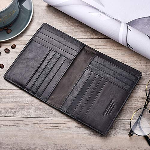 niumanery Retro Genuine Leather Cowhide Travel Passport ID Card Cover Holder Case Protector Organizer Wallet Black 906#