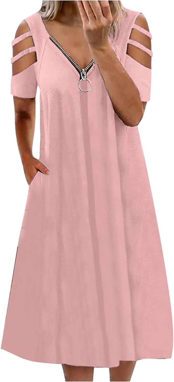 Women's Casual Zipper V Neck Hollow Short Sleeves Vintage Print Knee-Length Dress