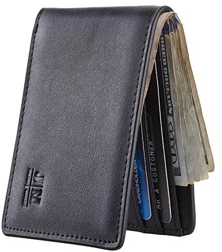 Gostwo Herren-Geldbörse, dünn, minimalistisch, aus echtem Leder, mit Sichtfenster, RFID-blockiert (schwarz dunkel)