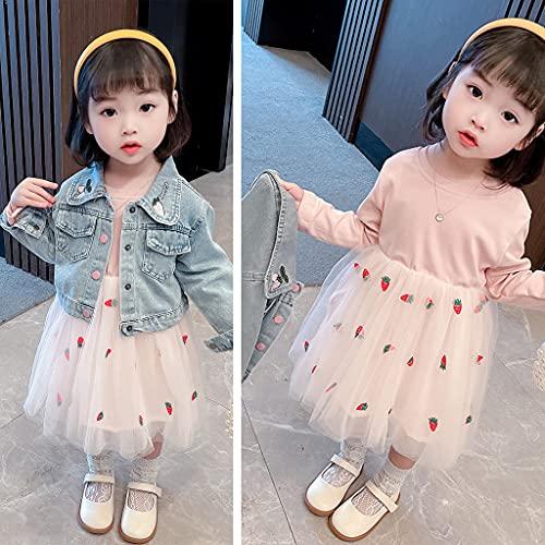 2 Piezas Bebé Niñas Conjuntos de Ropa Manga Larga Vestido Tutú Y Chaqueta de Mezclilla Jacke Primavera Otoño Fresa Rosa 9-12 Meses