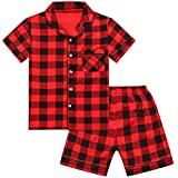 Kids Boys Girls Short Pajama Set, Red Black Plaid Cotton Button Down Top + Boxer Shorts 2 Piece Pajama Set for Baby Toddlers Little & Big Boys Girls, Red/Black Plaid, 6-7 Years = Tag 140