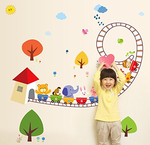 TOTOMO #W136 Colorful Animal Train Wall Decals Removable Wall Decor Decorative Painting Supplies & Wall Treatments Stickers for Girls Kids Living Room Bedroom
