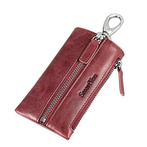 Arbeiten Sie reinen Farben-ledernen Schlüsselkasten Keychain Auto-Schlüsselhalter mit 6 Haken um, Rot