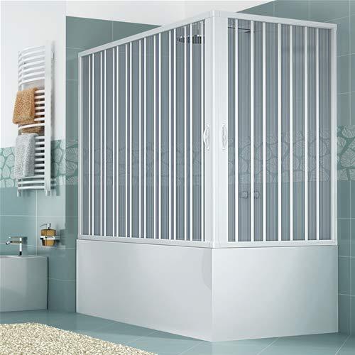 Mampara de baño 70 x 150 cm modelo Anja doble puerta plegable con apertura angular, paneles semitransparentes, perfiles de color blanco