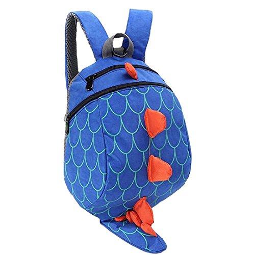 Unisex Infantiles Mochilas para Niñas Niño 3D Dinosaurio Backpacks Anti Perdidos 1-5 Años (Azul)