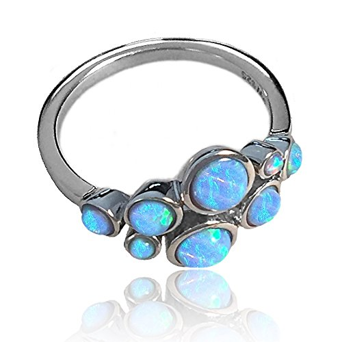 Blue Opal Bubble Ring in Sterling Silver (Select Your Finger Size)