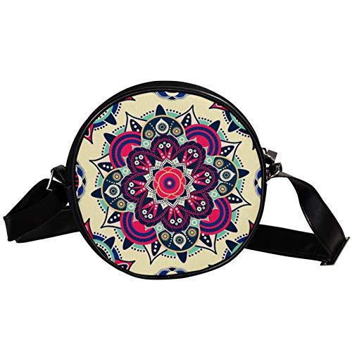 Bandolera redonda pequeña bolso de mano para mujer, bolso de hombro de moda, bolso de mensajero de lona, bolsa de cintura, accesorios para mujer, mandala india psicodélico