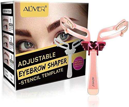 Plantilla para depilado de cejas, diseño simétrico ajustable, herramienta de maquillaje, color rosa