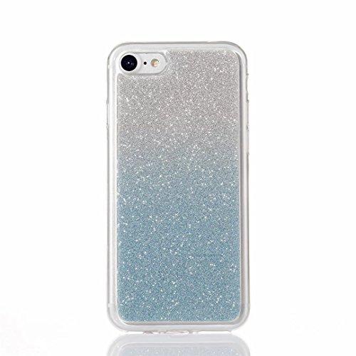 MUTOUREN iPhone 7 Caso,iPhone 7 Suave Caso de TPU Brillante Destello espumoso Caso de la Cubierta Resistente a los arañazos Caso de Parachoques Trasero Protector Transparente - Azul gradiente