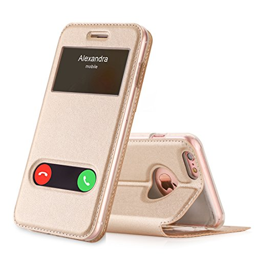 FYY Funda iPhone 6S Plus, Funda iPhone 6 Plus, De Soporte Magnetico en la Parte Cubierta y Funcion de Ventana con Vista a Pantalla Superior para Apple iPhone 6S Plus/6 Plus Dorado