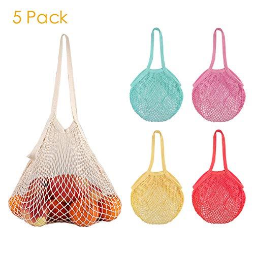 Veemos Mehrzweck-Einkaufstaschen, wiederverwendbar, aus Baumwolle, mit langem Griff, waschbar, Obst und Gemüse