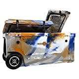 WYLD 75 Quart Dual Compartment Cooler with Wheels (White/Grey) & Tap Kit! Aerator Port Kit & Rod Holder Available for Camping Fishing Boating & Tailgating
