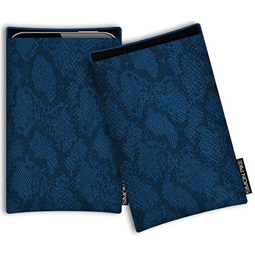 SIMON PIKE Hülle Tasche kompatibel mit Microsoft Surface Duo | Schutztasche Boston in 01 blau Schlange aus Kunstleder Handyhülle