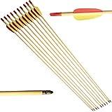 10 Frecce Freccia per Arco Tiro Bersaglio in Legno Archi 20 60 Libbre 28 Pollici...