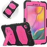 SEYMAC Galaxy Tab A 8.0 2019 Case, SM-T290 Kid Case, Full Body Heavy Duty Shockproof Kids Friendly Silicone Case with Kickstand for Galaxy Tab A 8.0 Inch 2019(SM-T290/SM-T295/SM-T297)(Rose/Black)