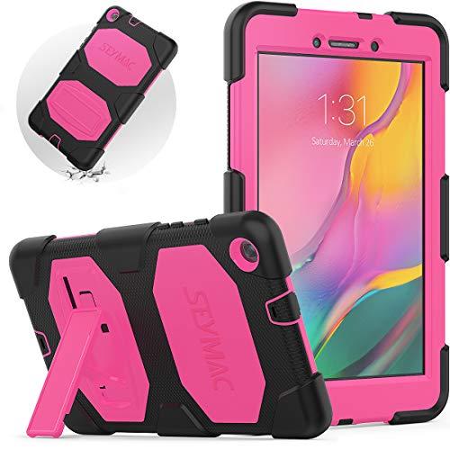 SEYMAC - Samsung Galaxy Tab A 8.0 2019 Funda (SM-T290 SM-295 SM-T297), Funda Samsung T290, Resistente A Los Golpes, con Soporte para Funda Tablet Samsung T290(Rosa/Negro)