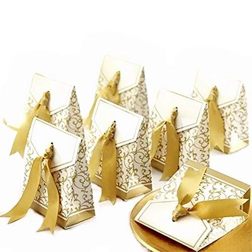 JZK 50 x Dorado papel cajas de favor partido caja regalo para los favores, los dulces, caramelos, bombones, confeti, los regalos y joyería para fiesta bienvenida bebé boda comunión navidad