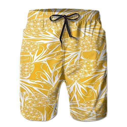 tyui7 Batik Pineapple Herren Badehose Quick Dry Beachwear Sport Running Swim Board Shorts Netzfutter, Größe XL