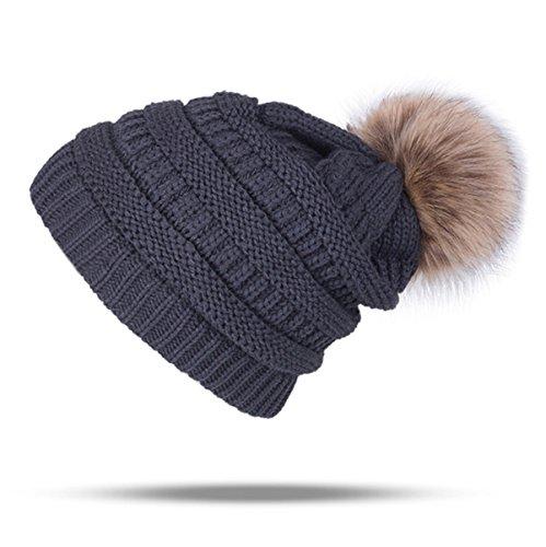 UPhitnis Bommelmütze Mütze Damen | Warme Strickmütze mit Fleecefutter Rollrand | Elegantem Wintermütze mit Fellbommel Pom Pom Beanie
