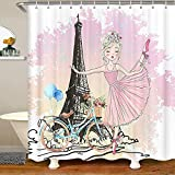 XXzhang Cortinas de Ducha de la Torre Eiffel Cortinas de baño con Estampado de niña de Ballet y Bicicleta Paris Cortina de baño Impermeable con 12 Ganchos para Bathtublet, 72'W x 78' L