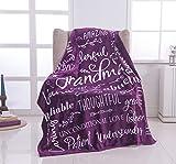 Wonderful Grandma Throw Blanket | Best Grandma Gifts | Wrap Your Grandmother with Love and Inspirational Words | Comfort Grandma Blanket Birthday Gifts for Grandma (Purple, Flannel)