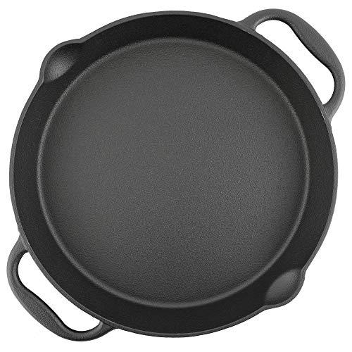 BBQ-Toro Gusseisen Grillpfanne I Gusspfanne mit Zwei Griffe und Zwei Ausgießer I Servierpfanne I Pfanne (Ø 35 cm)