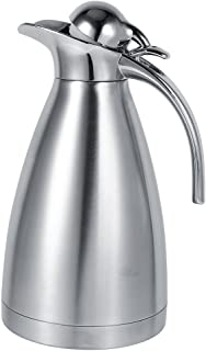 Fdit 1.5L/2L Coffee Tea Pot Stainless Steel Double Wall Vacuum Insulated Pot Thermo Jug Hot Water Bottle(Silver 1.5L)