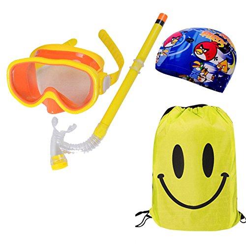 Kid Schnorchel Set Silikon Scuba Kind Schwimmen Schnorcheln Maske Brille mit Anti-Fog-Brille Tauchen Swim Cap Swim-Tasche für Jungen und Mädchen