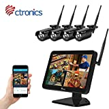 Ctronics (H.265) 1080P Kit caméra de Surveillance WiFi Exterieur sans Fil avec 12'' LCD Monitor,...