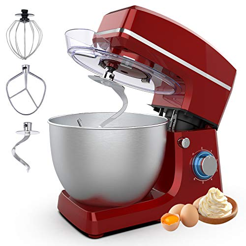 Stand Mixer Sincalong 85QT 6 Speed Control Electric Stand Mixer with Stainless Steel Mixing Bowl and 3 Attachments Food Mixer for Mix Blend Whip and Knead Red