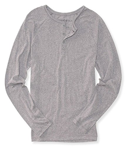 AEROPOSTALE Mens Long Sleeve Henley T-Shirt Gray Small