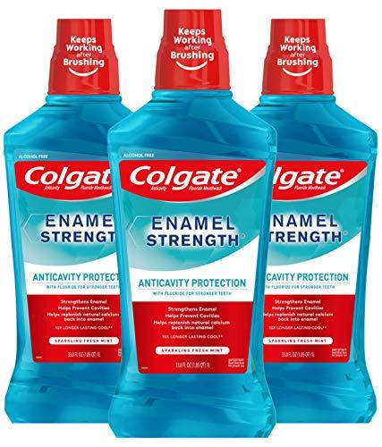 Colgate Enamel Strength Fluoride Mouthwash, Alcohol Free, Sparkling Fresh Mint - 1L, 33.8 fluid ounce (3 Pack)