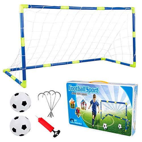 AnJanLe Mini Fußballtor Set für Kinder, 1 Tor, 1 Ball und Pumpe, Fußball Garten Selbstaufstellende 120 x 62 x 46cm