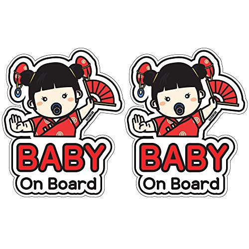 GEEKBEAR Baby on Board Sticker and Decal (Chinese Girl, 2 Pack) - Baby Bumper Car Sticker - Baby Window Car Sticker - Baby in Car Sticker - Cute Safety Caution Decal Sign for Cars