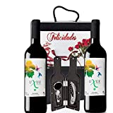 Caja Vino Tinto Regalo FELICIDADES - Pack de 2 Botellas UXUE CRIANZA Edicion Limitada MEDALLA BERLIN 2015 + Kit Accesorios con Estuche - Ideal para regalar en Ocasiones Especiales.